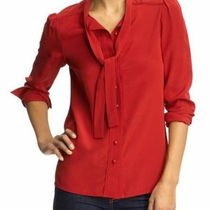 Marc by Marc Jacobs Red Michaela Silk Tie Blouse